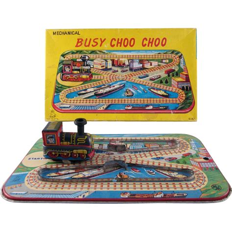 J My Choo Freya Original busy choo choo tin litho windup in original box works