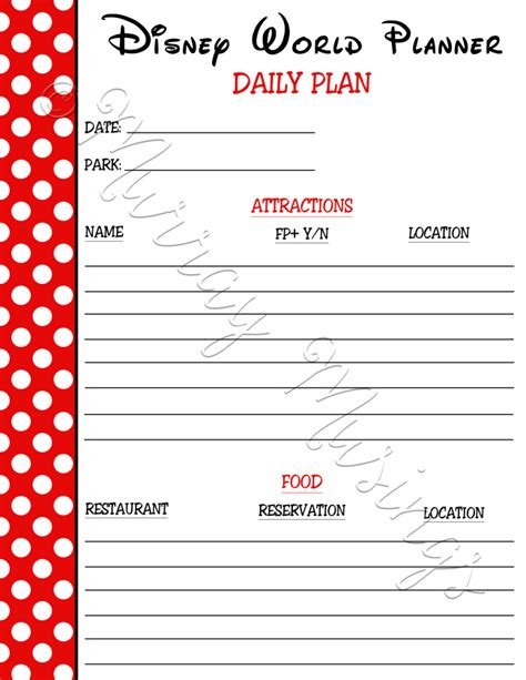 printable disney world planning sheets disney world planner daily plan freeprintable