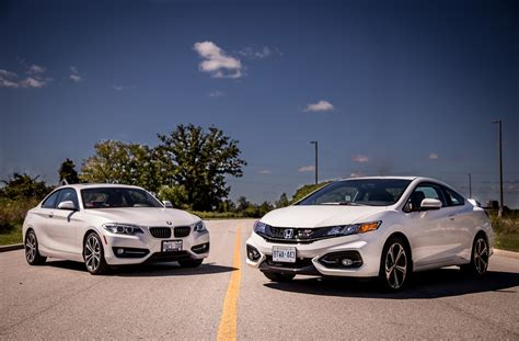 bmw honda 2014 bmw 228i vs 2014 honda civic si coupe comparison