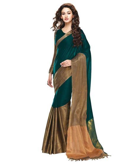Ishin Green Cotton Saree   Buy Ishin Green Cotton Saree Online at Low Price   Snapdeal.com