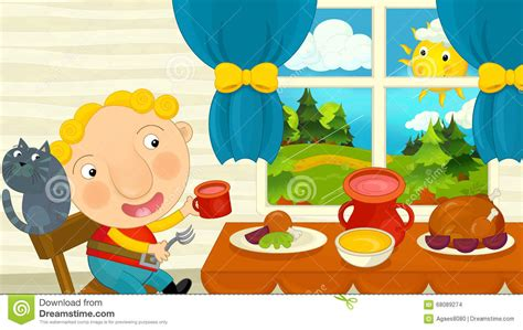 Dining Room Table Seats 12 cartoon boy eating in the dining room stock illustration