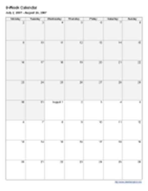 8 week calendar template 8 week blank calendar printable