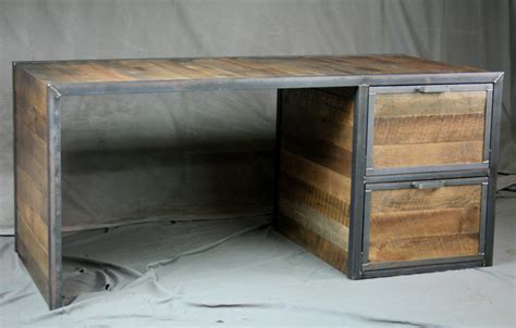 metal and wood desk with drawers combine 9 industrial furniture reclaimed wood desk