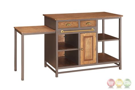 pull out table metal and wood 2 drawer kitchen island with pull out table