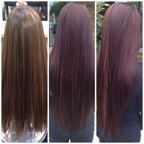 steps to doing burgundy hair with brown and caramel highlights before and after deep burgundy wine hair color with dark