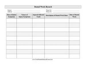 printable dental work record