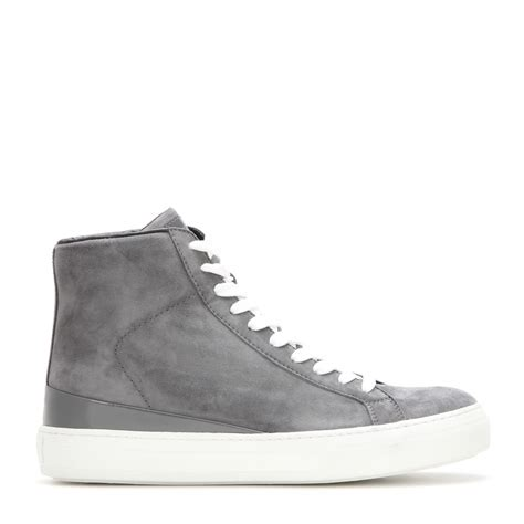 grey high top sneakers tod s suede high top sneakers in gray lyst