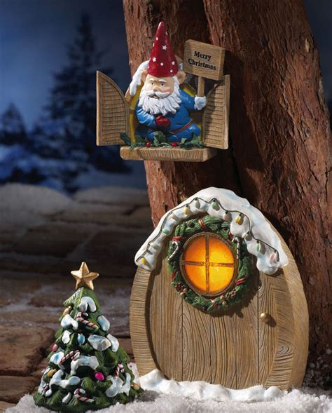 gnome door window solar christmas garden decor