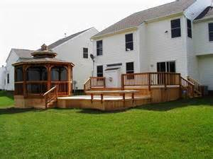 Patio Level by Multi Level Cedar Deck With Low To Grade Portion And