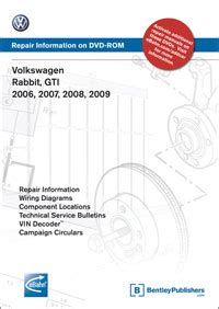 car repair manuals online free 2007 volkswagen rabbit seat position control volkswagen rabbit gti 2006 2007 2008 2009 repair manual on dvd rom bentley publishers