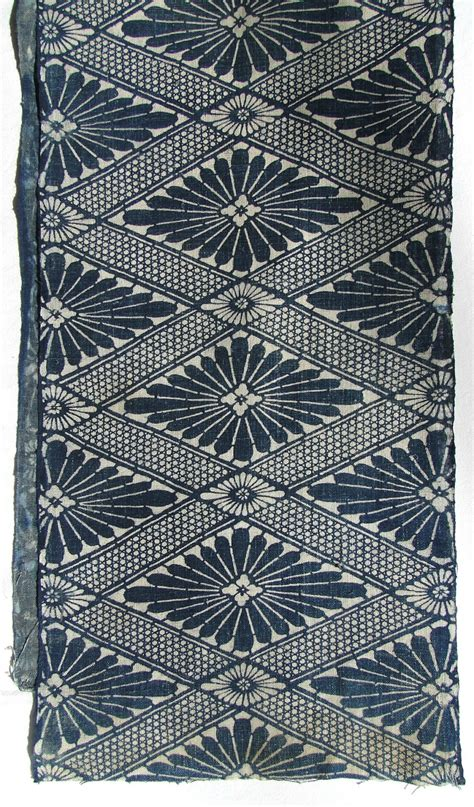 vintage japanese pattern antique indigo cotton japanese katazome floral geometric