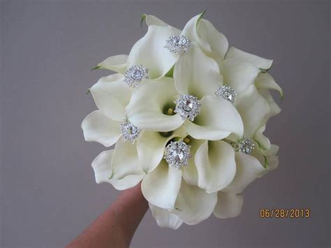 Wedding Bouquet Bling by Gorgeous Embellished White Calla Bouquet Weddings