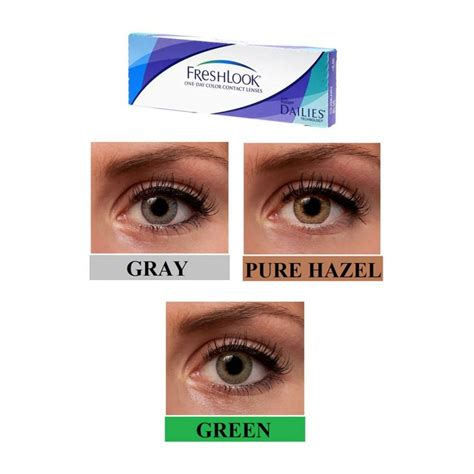 pack of 3 pairs freshlook one day lenses grey green and hazel