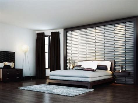 contemporary wallpaper  spcious bedroom brown curtain