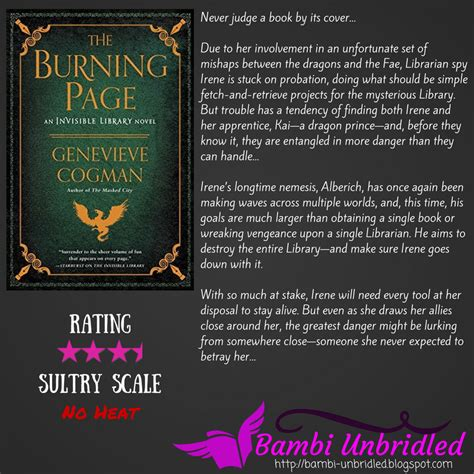Pdf Burning Page Invisible Library Novel by Unbridled Arc Review The Burning Page By Genevieve