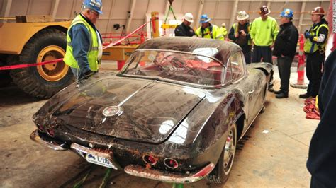 wrecked car before and after corvette museum won t keep sinkhole after all cnn
