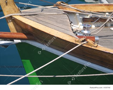 wooden boat bow watercraft bow and deck of wooden boat stock image