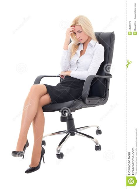 White Sitting Chair by Stressed Business Sitting On Office Chair Isolated