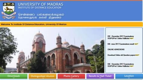 Madras Mba Results July 2017 by Madras Ug Pg Results 2017 Unom Ug And Pg