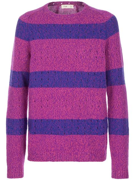 paul smith crew neck sweater in blue for pink purple