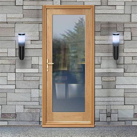 Glazed Exterior Doors Part L Compliant External Shaker 1 Pane Oak Door With Clear Safety Glazing