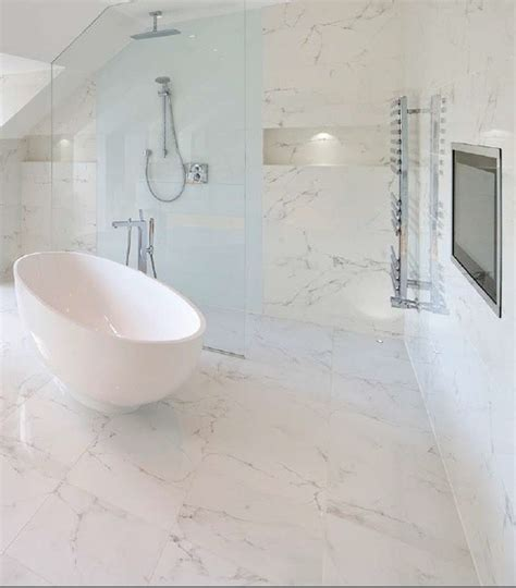 Mayfair Home And Decor by Marble Effect Porcelain Contemporary Bathroom