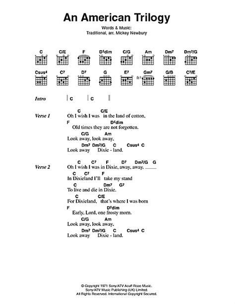 An American Lyrics An American Trilogy Sheet By Elvis Lyrics Chords 45925