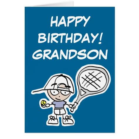 printable birthday cards grandson grandson birthday card with little tennis boy zazzle