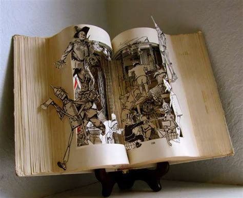themes for book art cutout character novels altered books