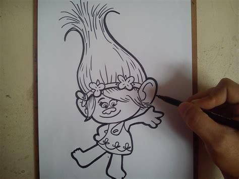 como dibujar a la princesa poppy trolls how to draw