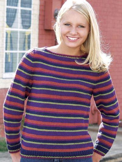 Knitting Pattern Striped Jumper | free long sleeved sweater knitting patterns striped boat