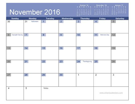 november 2016 calendar with holidays printable 7 templates