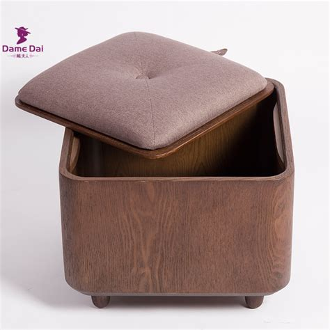 Wooden Organizer Storage Stool Ottoman Bench Footrest Box Wooden Ottoman Storage Box