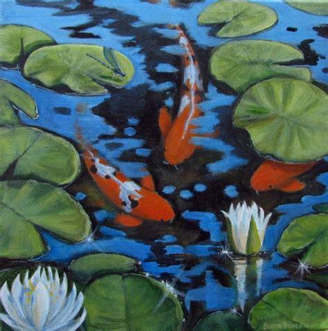 acrylic painting koi fish orange koi fish pond lilies dragonfly original acrylic