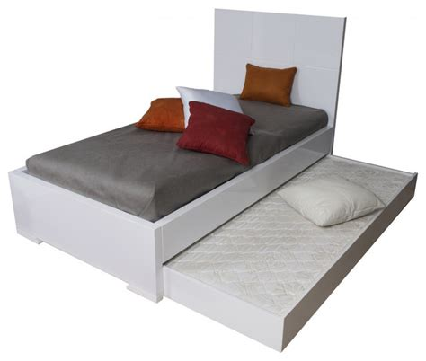 modern trundle beds anna high gloss white twin bed with trundle modern