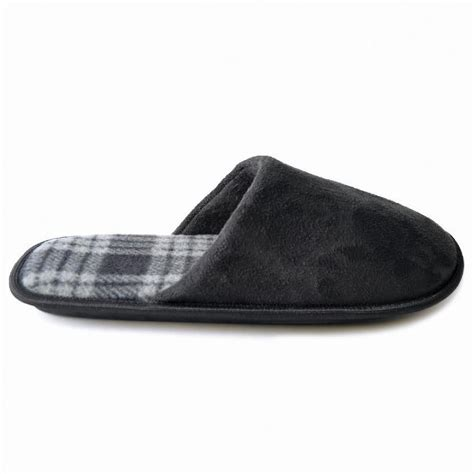 m s slippers mens faux suede open back slippers with checked lining 3