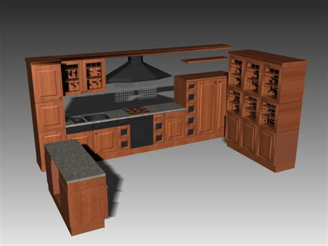 3d Kitchen Design Software Download by U Shaped Kitchen Cabinets 3d Model 3dsmax 3ds Autocad