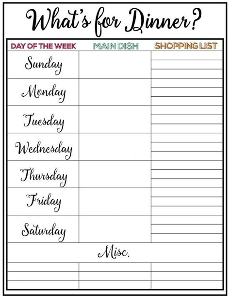printable meal planner free printable weekly menu planner male models picture