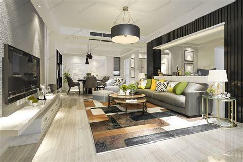 modern living room  dining room  model sofa