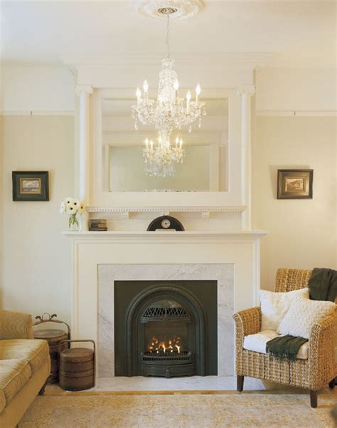 fireplace mantel living room traditional with birch
