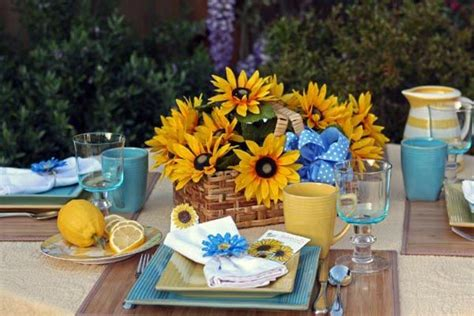 sunflower table settings sunflower summer table setting sunflowers