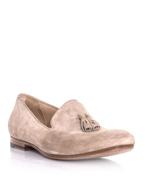 mcqueen loafers mcqueen suede tassel loafers in beige for lyst