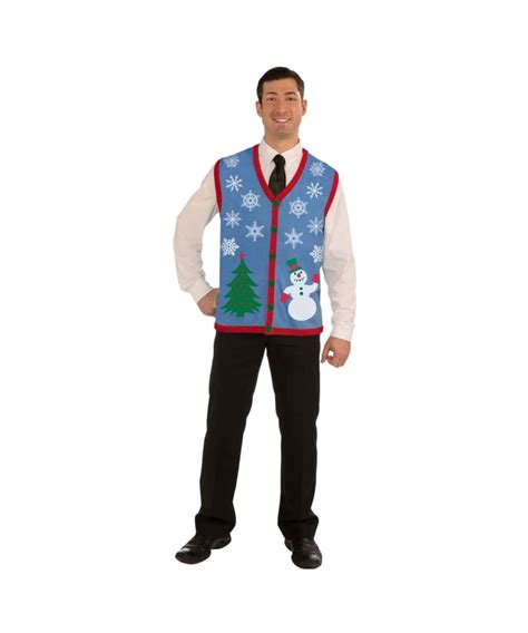 christmas tree and snowman ugly mens costume vest