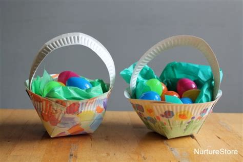 How To Make Paper Easter Baskets - paper plate easter basket craft nurturestore