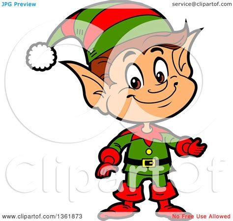 clipart of a cartoon presenting happy male chistmas elf