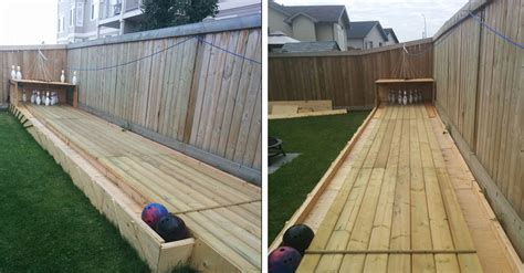 backyard bowling man builds backyard bowling alley