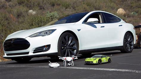 electric drag race tesla p85 model s vs remote control car