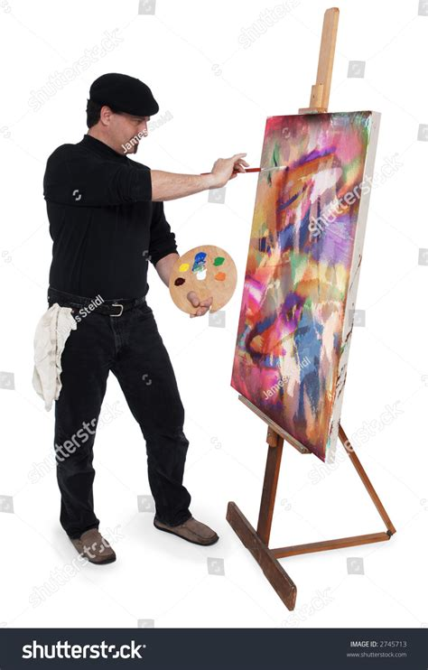 a painter fine art painter wearing beret holding stock photo 2745713