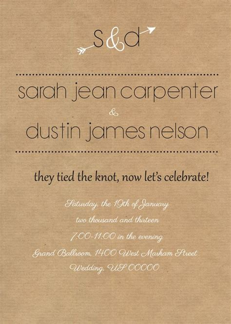 How To Word Wedding Invitation When Reception Is by Rustic Reception Invite I Like The Wording Of This