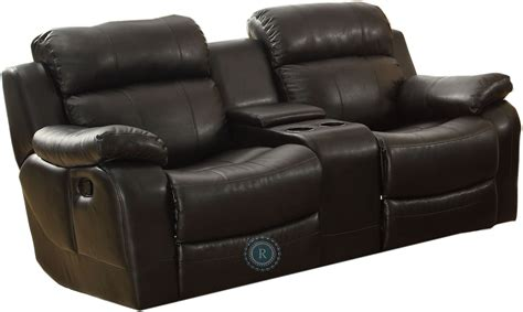 Reclining Sofa With Center Console Marille Black Double Glider Reclining Loveseat With Center